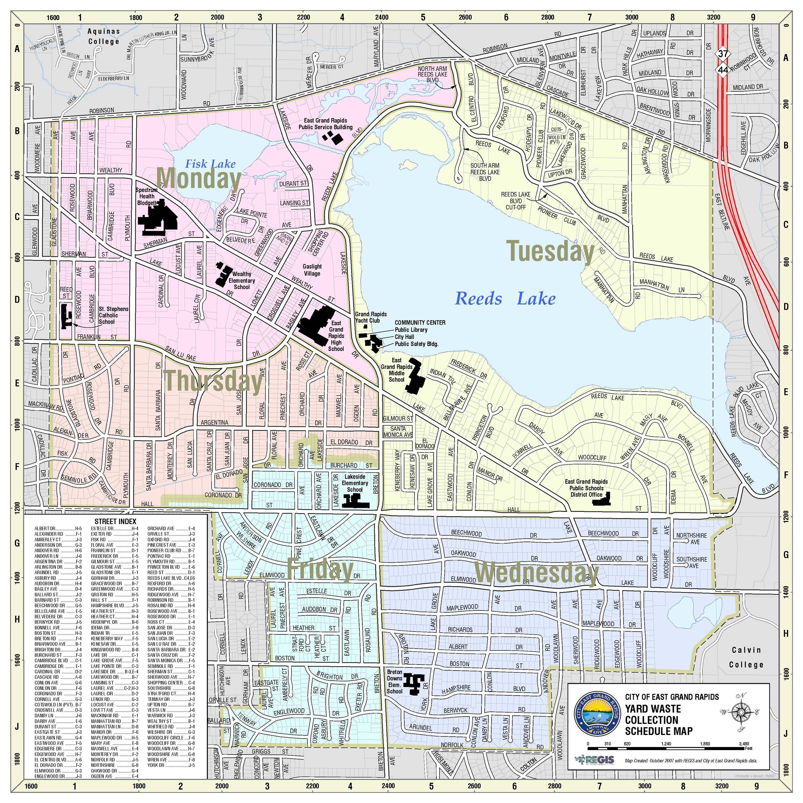Yard Waste Collection Map