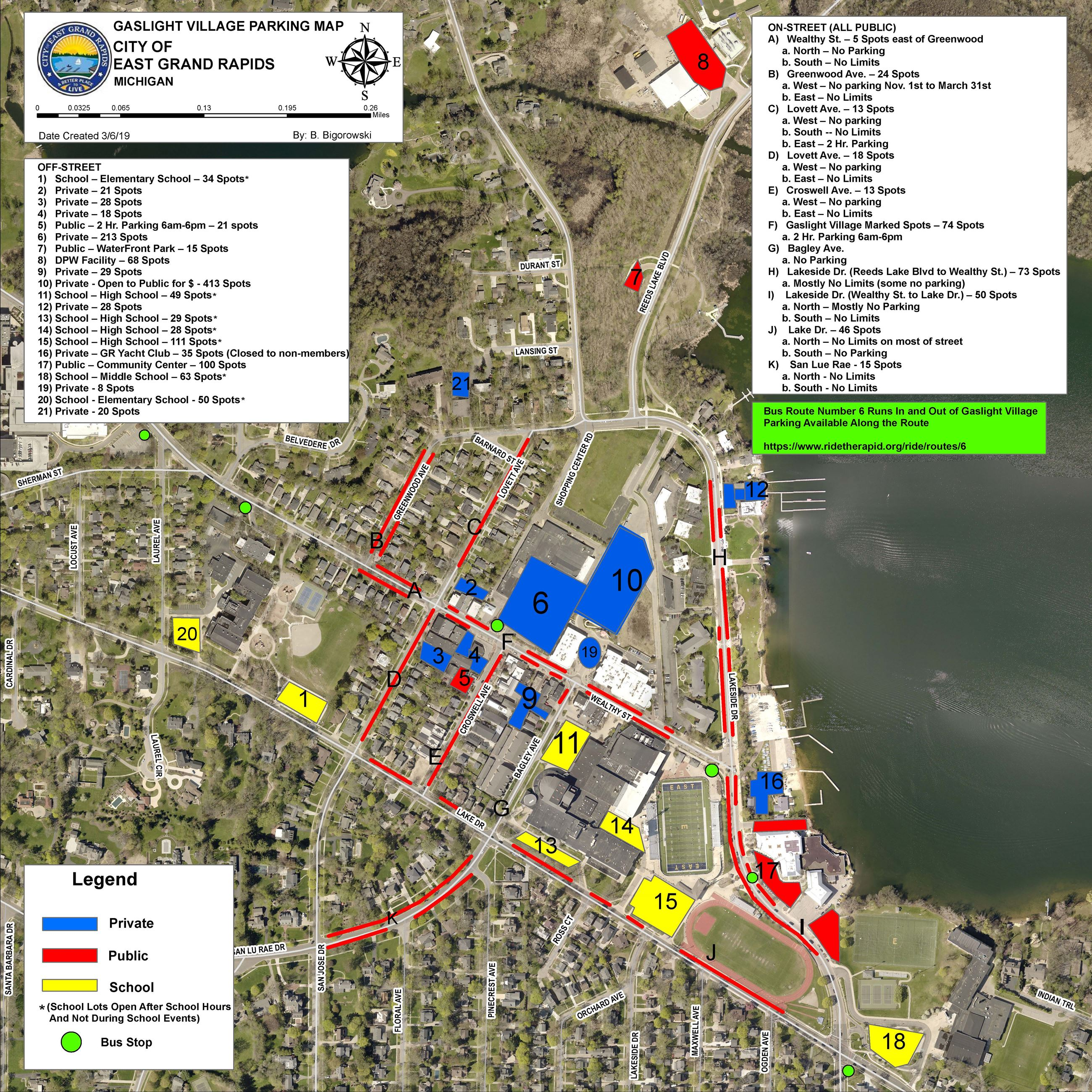 Gaslight Village Parking Map