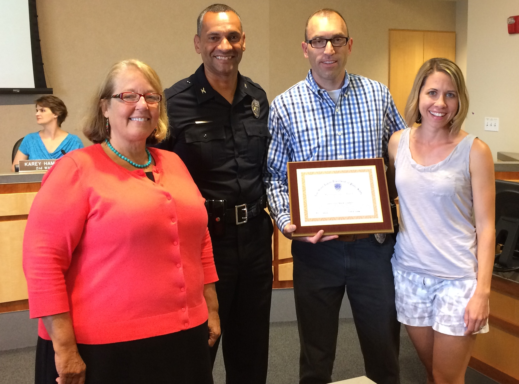 Mayor Amna Seibold, Chief Mark Herald, Mark Lindner, Lianne Lindner